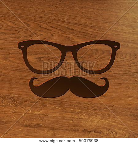 Wooden Background With Hipster Symbol With Gradient Mesh, Vector Illustration