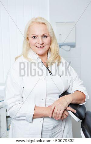 Portrait of an elderly female gynecologist in her office