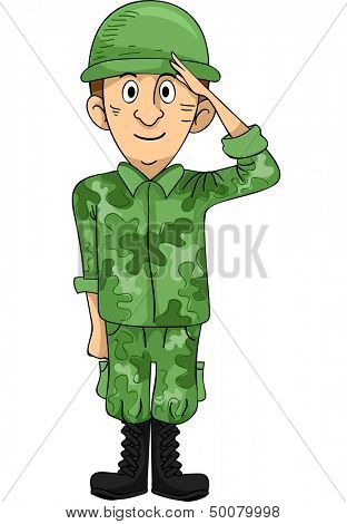 Illustration of a Uniformed Solder Doing a Hand Salute