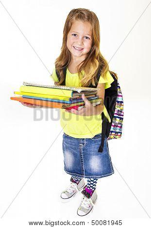Little Girl elementary student Portrait Isolated