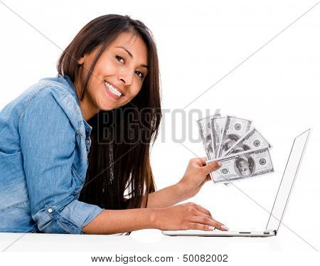 Woman shopping and saving money online - isolated over a white background