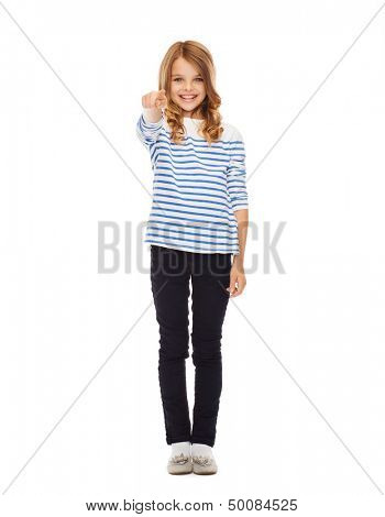 education, school and gesture concept - cute little girl pointing at you or imaginary screen
