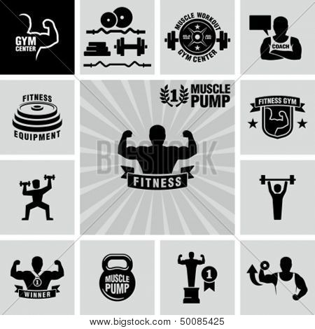 Bodybuilding fitness gym icons