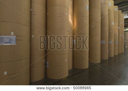 View of huge rolls of paper in newspaper factory
