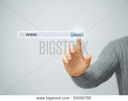 technology, searching system and internet concept - male hand pressing Search button