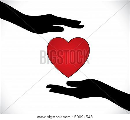 Heart Care Or Heart Protection Or Love Protection Concept Illustration: Hands Silhouette Protecting