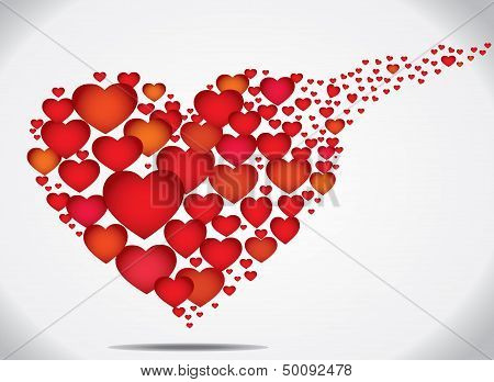 Concept Design Vector Illustration Art Of Colorful Flying Hearts Of Different Sizes In Shape Heart