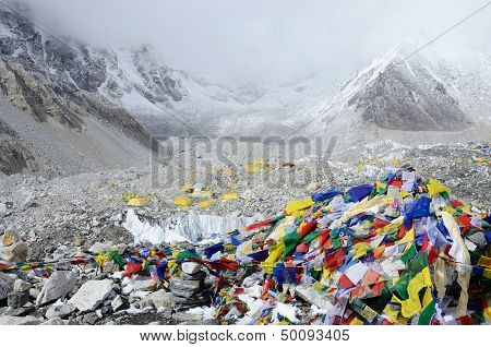 Final Path Marker With Traditional Colourful Tibetan Flags showing way to Everest Base Camp,Nepal