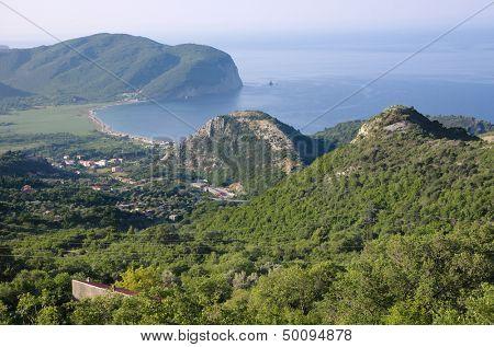 coastal profile of Buljarica Bay from Novoselje, Montenegro