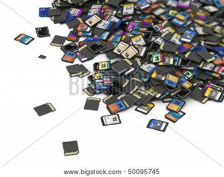 Big heap of SD and microSD memory cards