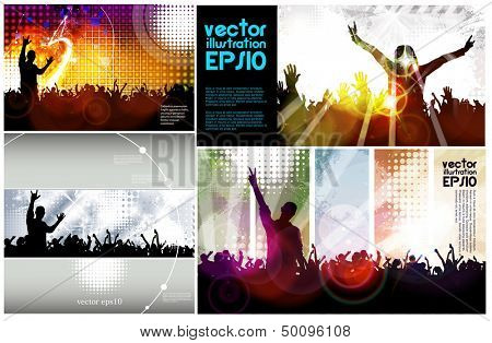 Silhouettes of people dancing. Vector