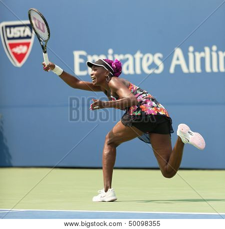 Nine times Grand Slam champion Venus Williams during her first round match at US Open 2013
