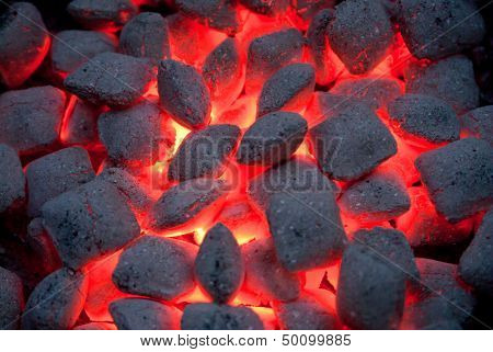 Charcoal in a barbecue
