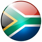 South Africa Round Glass Button