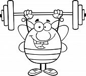 Black And White Pudgy Bee Cartoon Mascot Character Lifting Weights