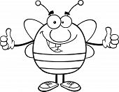Black And White Pudgy Bee Cartoon Character Giving A Double Thumbs Up
