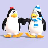 image of growler  - cute penguin couple in love with Clipping Path - JPG