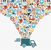 picture of trucks  - Shipping logistics delivery concept - JPG