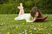 picture of girl reading book  - Young girl reading a book in a grassy meadow covered with wild flowers - JPG