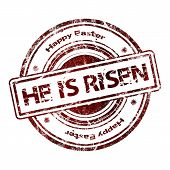pic of he is risen  - Abstract Grunge Rubber Stamp  - JPG