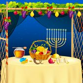 image of tabernacle  - vector illustration of decorated sukkah for celebrating Sukkot - JPG