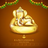 stock photo of ganapati  - illustration of statue of Lord Ganesha made of gold for Ganesh Chaturthi - JPG