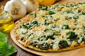 picture of crust  - A freshly baked thin crust spinach pizza with garlic lemons and olive oil.