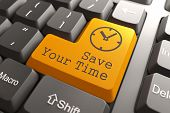 picture of time-saving  - Orange Save Your Time Button on Computer Keyboard - JPG