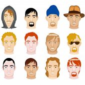picture of ginger man  - Vector Illustration of 12 different White and Mixed Men Faces - JPG
