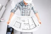 stock photo of blueprints  - architecture and renovation concept  - JPG