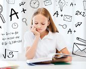 picture of pre-teen girl  - education and school concept  - JPG