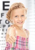 stock photo of  preteen girls  - medicine and vision concept  - JPG