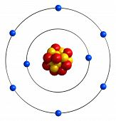 stock photo of neutrons  - 3d render of atomic structure of oxygen - JPG