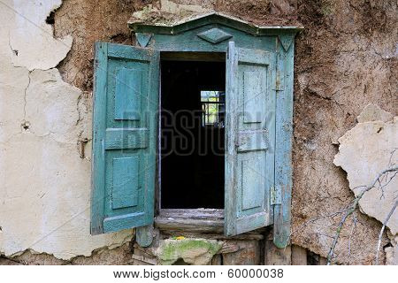 old window of abandoned house