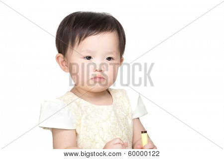 Little girl holding colour pen