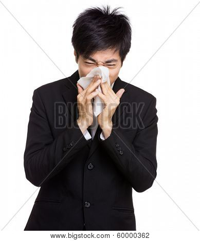 Asia businessman nose allergy
