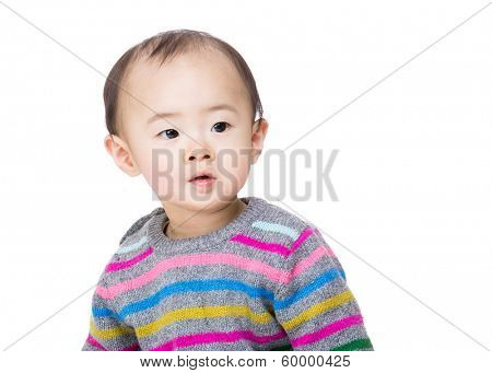 Asian baby looking aside