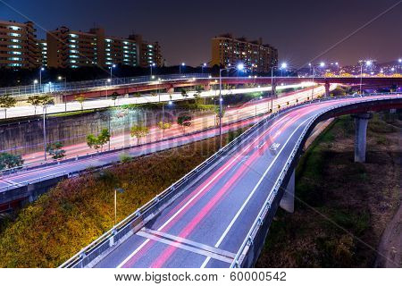 Highway in Seoul at night