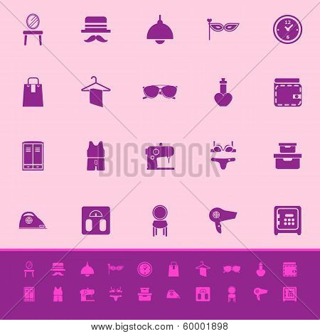 Dressing Room Color Icons On Pink Background