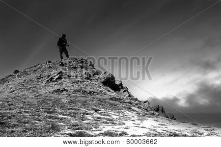Winter Mountain And Photographer