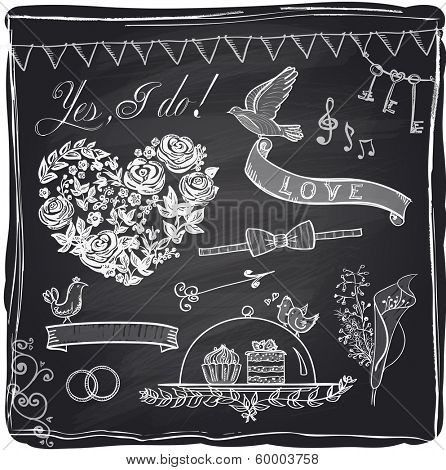 Chalk wedding hand drawn graphic set on a chalkboard. Eps10.
