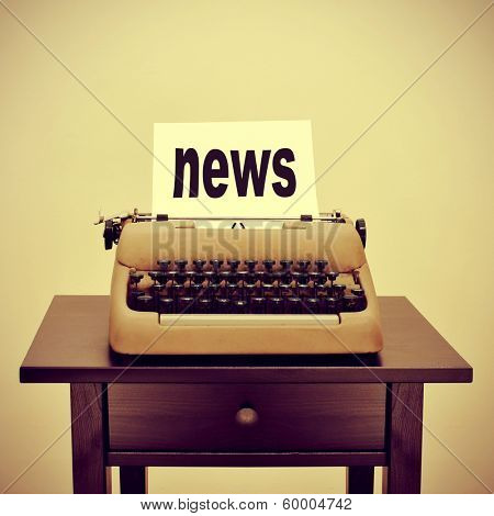 picture of an old typewriter with a page with the word news written in it, with a retro effect
