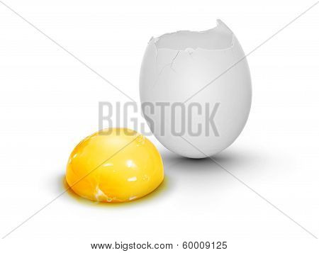 Cracked Egg With Egg Yolk