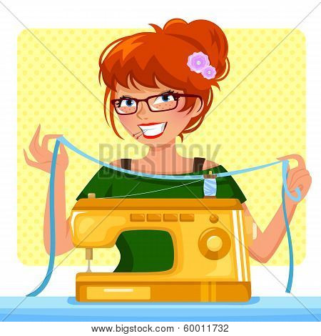 sewing girl