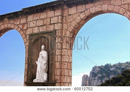 Sculptures In The Cloister Montserrat Monastery, Tarragona Province, Spain