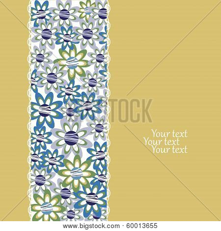 Floral Invitation Or Greeting Card On Yellow Background. Template Frame Design For Card