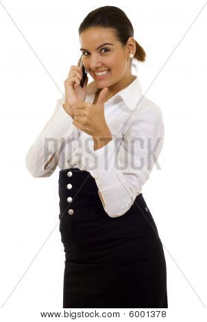Successful Business Woman With Her Thumbs Up