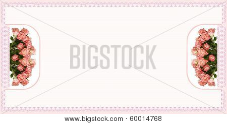 composition of pink roses on table cloth