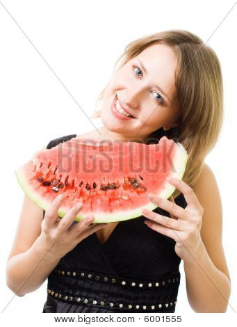 Woman Smile Holding Watermelon