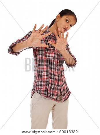 Attractive indian woman with repelling gesture